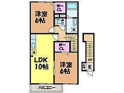 愛媛県伊予郡砥部町高尾田の賃貸アパートの間取り