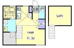 La ville 2階ワンルームの間取り