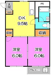 東京都練馬区東大泉3丁目の賃貸マンションの間取り