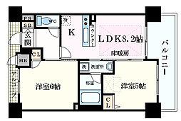エステムプラザ梅田・中崎町IIIツインマークスサウスレジデン 13階2DKの間取り
