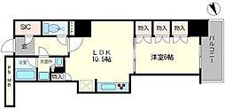 阿波座ライズタワーズフラッグ46 OMPタワー 5階2LDKの間取り