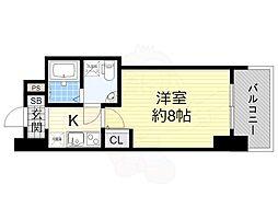 阪神なんば線 桜川駅 徒歩1分の賃貸マンション 12階1Kの間取り