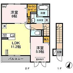 埼玉県さいたま市中央区円阿弥4丁目の賃貸アパートの間取り
