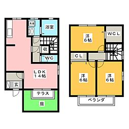 [テラスハウス] 岐阜県岐阜市長良3丁目 の賃貸【/】の間取り