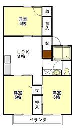 アワヤハイツA棟[2階]の間取り