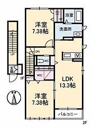 シャーメゾン南島田[2階]の間取り