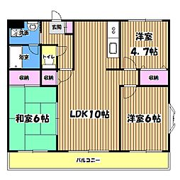 東京都福生市大字熊川の賃貸マンションの間取り