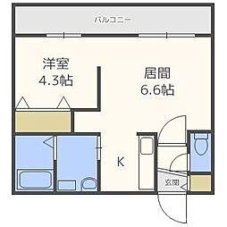 北海道札幌市中央区北十条西18丁目の賃貸マンションの間取り