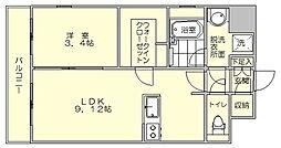 HSK博多ステーション2015年築[3階]の間取り