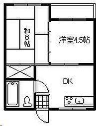 城ヶ崎コーポ B棟[3階]の間取り