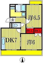 千葉県船橋市山手3丁目の賃貸マンションの間取り