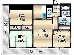 クレール上中条[2階]の間取り