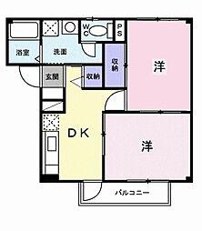 愛知県岡崎市大平町字中道の賃貸アパートの間取り