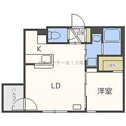 JR函館本線 桑園駅 徒歩4分の賃貸マンション 2階1LDKの間取り