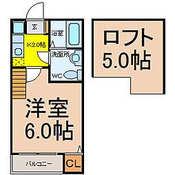愛知県名古屋市千種区仲田1丁目の賃貸アパートの間取り