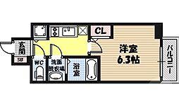 エスリード京橋グレイス 8階1Kの間取り