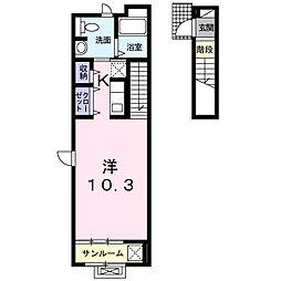京王相模原線 京王堀之内駅 徒歩19分の賃貸アパート 2階1Kの間取り