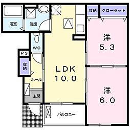 上野町アパート B棟[0102号室]の間取り