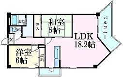 JR姫新線 余部駅 徒歩15分の賃貸マンション 10階2LDKの間取り