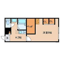 近鉄京都線 大和西大寺駅 バス14分 平城中山北口下車 徒歩3分の賃貸アパート 2階1Kの間取り