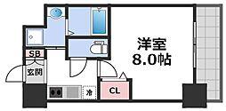 レジュールアッシュ天王寺舟橋 8階1Kの間取り