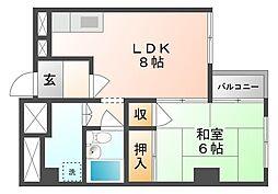 岡山県岡山市北区中山下2丁目の賃貸マンションの間取り
