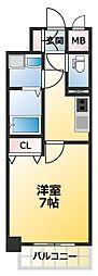 JR大阪環状線 寺田町駅 徒歩6分の賃貸マンション 14階1Kの間取り