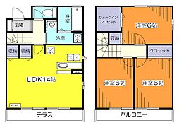 [テラスハウス] 東京都小平市鈴木町2丁目 の賃貸【/】の間取り