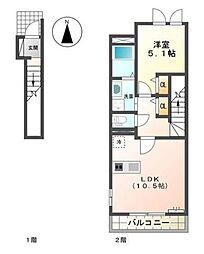 柳川市蒲船津アパートA[2階]の間取り