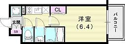 JR山陽本線 兵庫駅 徒歩4分の賃貸マンション 2階1Kの間取り