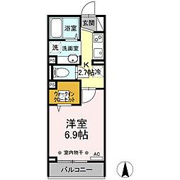横浜市営地下鉄ブルーライン 片倉町駅 徒歩14分の賃貸アパート 1階1Kの間取り