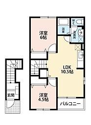 福岡県北九州市小倉南区中曽根新町の賃貸アパートの間取り