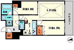 ローレルタワー心斎橋 7階2LDKの間取り
