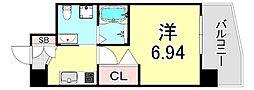 セレニテ江坂ルフレ 9階1Kの間取り