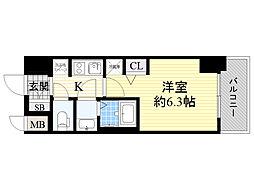 エステムコート新大阪12オルティ 4階1Kの間取り