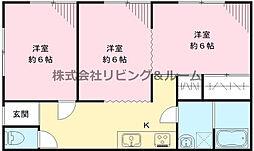 コーポ大須賀津 2階3Kの間取り