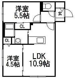北海道札幌市豊平区美園三条1丁目の賃貸マンションの間取り