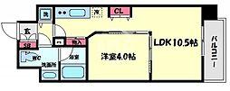 ロッカベラアパートメント 3階1LDKの間取り