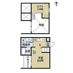 愛知県名古屋市南区豊1丁目の賃貸アパートの間取り