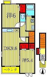 千葉県我孫子市下ヶ戸の賃貸アパートの間取り