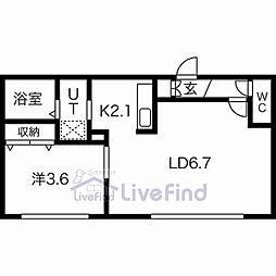 札幌市営東西線 菊水駅 徒歩5分の賃貸マンション 4階1LDKの間取り