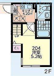 カンパーナ鶴間 2階1Kの間取り