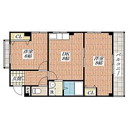 大阪府茨木市花園2丁目の賃貸マンションの間取り