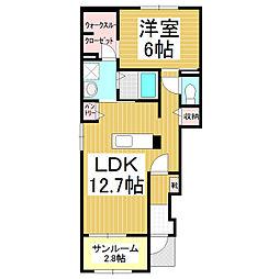 JR飯田線 駒ヶ根駅 徒歩12分の賃貸アパート 1階1LDKの間取り