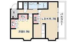 愛知県名古屋市守山区鳥羽見2丁目の賃貸マンションの間取り