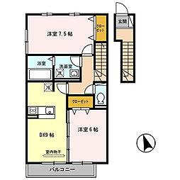 ヴェルコート B棟[2階]の間取り