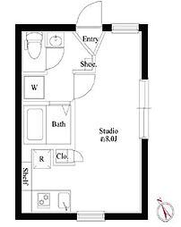 京成押上線 四ツ木駅 徒歩4分の賃貸マンション 2階ワンルームの間取り