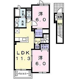 中尾町アパート[0204号室]の間取り