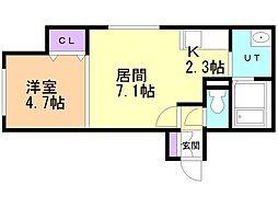 仮)菊水3-2MS 2階1LDKの間取り