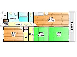 藤井寺グリーンハイツ[6階]の間取り